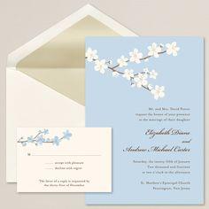 Budding Blossoms Wedding Invitation   Fresh blossoms and trellis design   #exclusivelyweddings