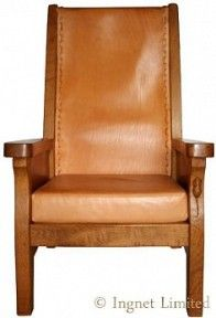 Mouseman smoking chair with slung leather back and oak frame carved signature mouse to front leg in high relief Height 112 cm Very good condition and colour Circa 1990 SOLD Smoking Chair, Robert Thompson, Craftsman Furniture, Furniture Projects, Armchair, Arts And Crafts, Chairs, Carving, Smoke