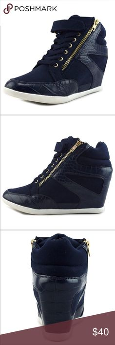 Thalia Sodi Azar | Fashion Sneaker Wedges New in box Made with navy blue suede Has crocodile print faux leather detail Gold hardware Has a hidden heel Zip-up closure Adjustable Velcro Thalia Sodi Shoes Wedges