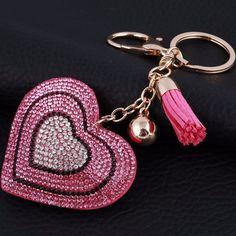 Acessórios para Bolsa Pingente de Coração cor Rosa Bolsas Divertidas