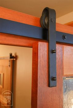 Flat Track Sliding Door Hardware | Hammered Flat Track Sliding Barn Door Hardware traditional hardware.  A very cool look to update old fashion sliding doors in a mobile home.