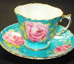 Aynsley England Aqua Opulent Epic Rose Tea Cup and Saucer Teacup