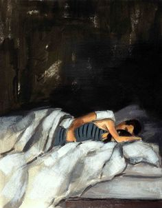 Striped Sleeper . extra large giclee art poster print of original painting