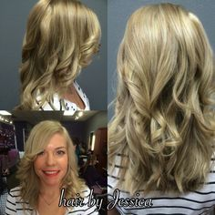 This gorgeous hair brought to you by Jessica at our #FossilCreek location. #blondeshavemorefun #blondehair #balayage #SalonPurple #teampurple #purpleworld #lovelylocks #curls