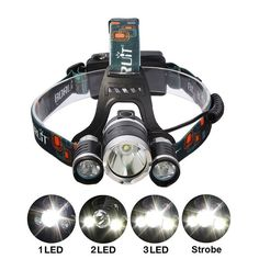 LED camping Headlamp With Rechargeable Battery & Charger