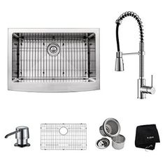 Kraus KHF200-30-KPF1612-KSD30CH 30 inch Farmhouse Single Bowl Stainless Steel Kitchen Sink with Chrome Kitchen Faucet and Soap Dispenser