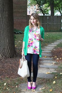 Poor Little It Girl in a Gap Green Cardigan, Everly Floral Top and James Skinny Jeans