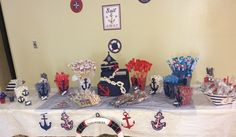 Nautical theme baby shower-Candy Table!