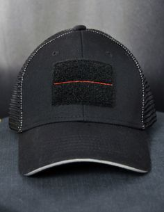 5 in 1 Redline Patch Firefighters Trucker Hat - Black Helmet Firefighter Shirts, Hats, Decals and Accessories