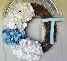 Hydrangea Wreath. With monogram.