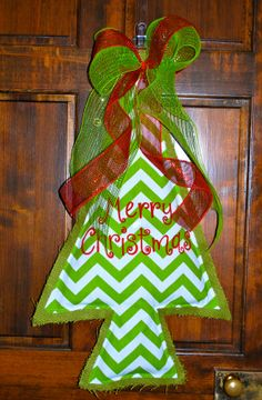 Christmas Tree Door Hanger- Burlap on Etsy, $35.00