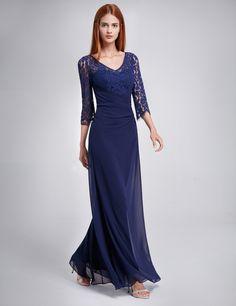df6c3e726e8 Lace Long Sleeve Floor Length Evening Gown