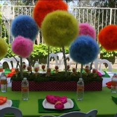Love this trufula tree center piece for the kids' Seuss party!!