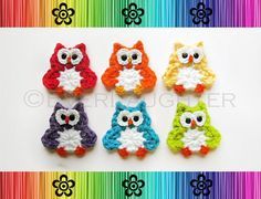 Owl Applique Crochet pattern by EverLaughter Crochet Owl Applique, Crochet Ladybug, Crochet Dinosaur, Crochet Fish, Elephant Applique, Crochet Appliques, Owl Patterns, Applique Patterns, Knitting Patterns