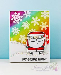 Jeanne Jachna: A Kept Life – My Coolest Friend! - 12/22/14.  (Stamps: Paper Smooches Santa Paws, Swanky Snowdudes, Fresh Snow.  Die: PTI Snowdrift from In The Meadow).  (Pin#1: Christmas: Santa...  Pin+: Christmas: Backgrounds).
