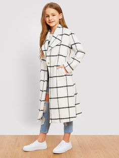Style: CasualColor: WhitePattern Type: PlaidCollar: NotchedLength: LongType: OtherDetails: ButtonSleeve Length: Long SleeveSeason: Fall/WinterComposition: PolyesterFabric: Fabric has no stretchFit Type: Regular FitPlacket: Single Button Teenage Girl Outfits, Kids Outfits Girls, Cute Girl Outfits, Girls Fashion Clothes, Tween Fashion, Teen Fashion Outfits, Cute Casual Outfits, Girl Fashion, Cute Outfits For Kids