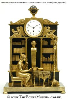 Gilt-bronze mantel clock, c.1810 by Antoine-Andre RAVRIO (Artist. France, 1759-1814). © www.TheBowesMuseum.org.uk  Barnard Castle, County Durham, NE England. Grecian woman seated reading in a library with bust of Homer. [Do not remove caption; required by international copyright law]  Promote our museums. Identify the artwork, artist & holding museum.