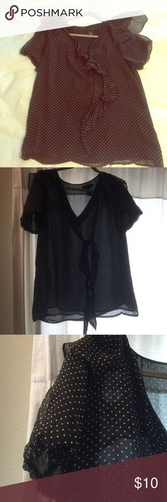 Polka dot blouse Isabel like polka dot blouse. V neck with tie collar. Super cute and lightweight isabel lu Tops Blouses