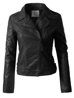 Shop a great selection of Design Olivia Women's Long Sleeves Asymmetrical Zipper Closure Biker Faux Leather Jacket. Find new offer and Similar products for Design Olivia Women's Long Sleeves Asymmetrical Zipper Closure Biker Faux Leather Jacket. Womens Black Leather Jacket, Leather Jacket Outfits, Leather Jackets Online, Faux Leather Jackets, Coats For Women, Jackets For Women, Leather Design, Biker, Closure