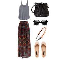 Skirt: boho hipster ethnic print hippie fashion bag shoes crown floral colorful top tank sunglasses