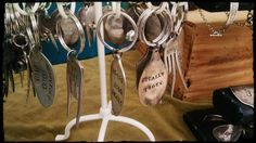 Repurposed silverware keychains at Gruene Market Days www.gruenemarketdays.com. Love the peace one with fork.