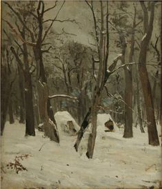 The Winter, by Ion Andreescu, Romanian realist landscape artist, Andreescu was one of the founders of Romanian painting. He studied in Romania and Paris and instructed calligraphy in Buzau, Romania. Winter Season Images, Winter Images, Winter Illustration, Winter Painting, Art Database, Office Art, Christmas Art, Landscape Art, Winter Landscape