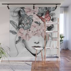 Buy woman with flowers 10 wall mural by worldwide shipping available at com just one of millions of high quality products available Salon Interior Design, Interior Design Living Room, Living Room Decor, Bedroom Decor, Wall Murals Bedroom, Bedroom Ideas, Deco Design, Wall Design, Mural Art