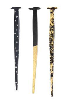 Pat Flynn, Nail Brooches, iron, 22-karat yellow gold, 18-karat yellow gold, 18-karat palladium white gold, diamonds, each approximately 152.4 x 12.7 x 6.4 mm, photo: Hap Sakwa