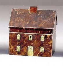 Tortoiseshell tea caddy in the form of a house, English, 19th Century.