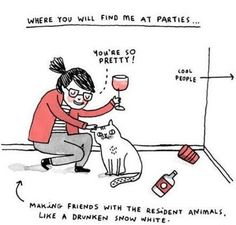 Yep. This pretty much sums me up when I'm at parties.