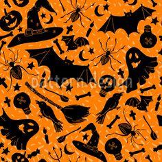 Halloween Witchcraft - Halloween pattern design with enchanted items. Halloween Vector, Halloween Patterns, Vector Pattern, Pattern Design, Creepy, Scary, Repeating Patterns, Surface Design, Witchcraft