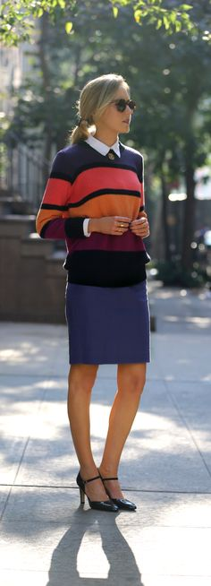 minkpink colorblocked sweater knit knitwear bulky chunky colorful thick stripes j crew pencil skirt salmon pink navy purple gold mustard yellow gorjana stacking rings franco sarto mary janes suede patent navy pumps heels monogram gold necklace Office Fashion, Work Fashion, Fashion Outfits, Modest Fashion, Style Fashion, Fashion Trends, Classy Cubicle, Shoes Heels Pumps, Navy Pumps