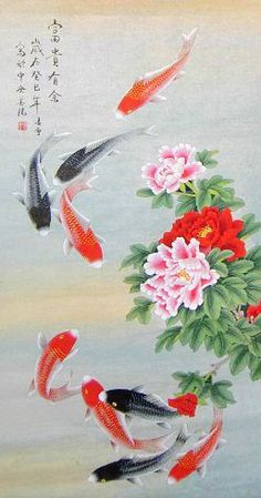 Rich and Have a Surplus  Original Nine Koi Fish Painting Wall Scroll  http://www.chilture.com/rich-original-nine-koi-fish-painting-wall-scroll-p-591.html