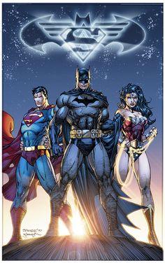 The DC Trinity (Superman, Batman, and Wonder Woman) - Jim Lee Comic Book Artists, Comic Book Characters, Comic Book Heroes, Comic Artist, Comic Character, Comic Books Art, Jim Lee, Ms Marvel, Marvel Dc Comics