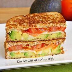 Avocado, tomato, mozzarella grilled cheese