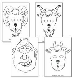Three Billy Goats Gruff Colouring in Masks - Primary Treasure Chest Fairy Tale Theme, Fairy Tales, Goat Mask, Billy Goats Gruff, Traditional Tales, Rhyming Activities, Three Little, Conte, Nursery Rhymes