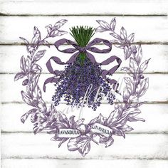 French Vintage Lavender Wreath Large Instant by CreatifBelle