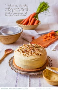 Chunky, moist carrot cake with dates, raisins, pecans and carrots, covered in a rich cream cheese frosting. Healthy Cake Recipes, Pecan Recipes, Wine Recipes, Sweet Recipes, Food Cakes, Cupcake Cakes, Moist Carrot Cakes, Food Obsession, Sweet Cakes