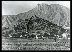 1840年代九龍城寨外面之農田,背景可見白鶴山及獅子山。_