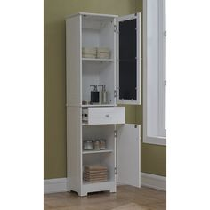 Shop for Elegant x Free Standing Linen Tower by RunFine Group. Get free delivery On EVERYTHING* Overstock - Your Online Furniture Outlet Store! Cabinet Shelving, Tall Cabinet Storage, Locker Storage, Shelves, Bathroom Cabinets, Bathroom Medicine Cabinet, Bath Remodel, Wood Doors, Amazing Bathrooms