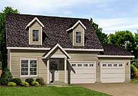 Cape Cod with 2 car attached garage.