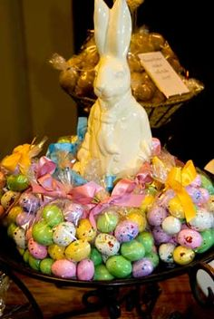 This is an image only... but it's a cute centerpiece with just bagged speckled eggs around a chocolate bunny!!