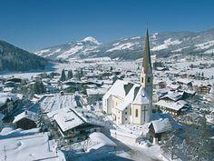 Kirchberg (translates as: Church mountain), Tirol, Austria. Went during the summer as a teenager. Christmas Destinations, Visit Austria, Ski Holidays, Susa, I Want To Travel, Place Of Worship, Travel Memories, Winter Landscape, Kirchen