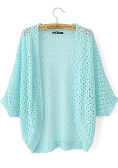 Blue Plain Hollow-out Seven's Sleeve Cardigan