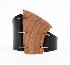 Asymmetrical bracelet  wood bracelet  OOAK cuff by MartinaBradach