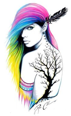 Beautiful art! Love the hair!!! And obviously the tattoo