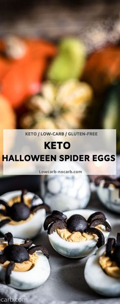 Halloween Keto Spider Web Deviled Eggs are a great scary Halloween Low Carb Recipe for your monster party. Spooky little spiders made from Olives and scary colored eggs with blueberries gives you a great healthy Halloween finger Food. Halloween Finger Foods, Creepy Halloween Food, Healthy Halloween, Low Carb Dinner Recipes, Keto Recipes, Snack Recipes, Breakfast Recipes, Dessert Recipes, Low Carb Breakfast