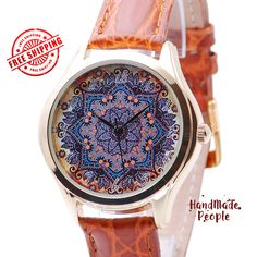 Watch for Women - Flower Pattern, Boho Chic Style Womens Watch, Gifts for Women, Gift Ideas for Wife, Romantic Gifts for Her - Free Shipping by HandMadePeople on Etsy https://www.etsy.com/listing/202635708/watch-for-women-flower-pattern-boho-chic
