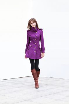 Purple Fitted Cashmere Coat Military Jacket- simply lovely
