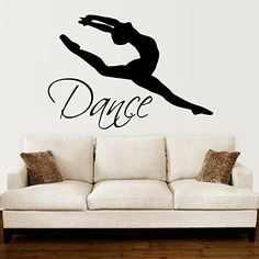 Wall Decals Quotes Dance Quote Dancer Silhouette Gymnastics Girls Kids Children Gift Nursery Dance Studio Ballerina Ballet Wall Vinyl Decal Stickers Bedroom Mural * Read more reviews of the product by visiting the link on the image. (Note:Amazon affiliate link)